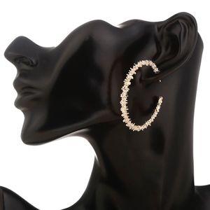 PREVIEW Textured Gold 'C' Shape Hoop Earrings